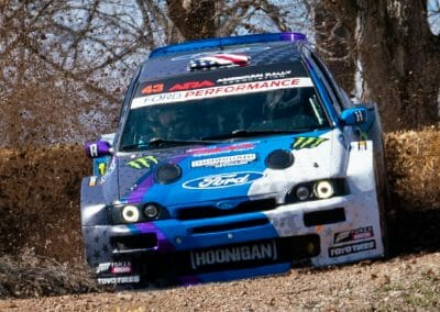 Ken Block and Co-Driver Alex Gelsomino as they Rally in the new Escort Cossie